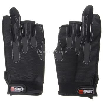 Outdoor Non Slip Fishing Gloves Riding Gloves Waterproof Breathable Black