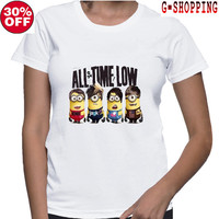 All Time Low  Shirts women Logo3 Tee Shirt All Time Low  Shirt Popular Band  TShirt Long women T Shirts