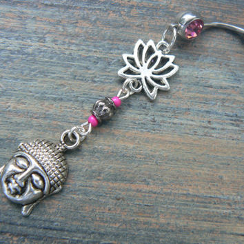 lotus buddha belly ring  PINK lotus flower zen yoga  Moroccan boho hipster new age gypsy hippie belly dancer beach and hipster style