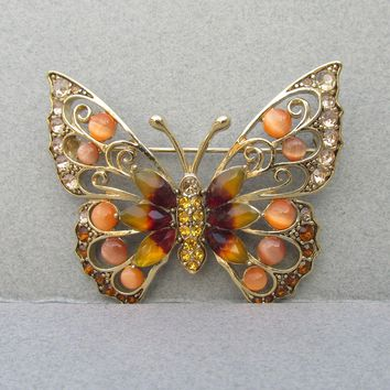 Beautiful Signed LC Liz Claiborne Butterfly Pin, Coral Glass Moonstone Cabochons