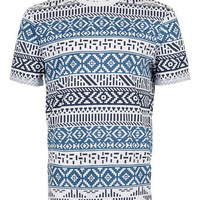 Navy Patterned Printed T-Shirt - Men's T-shirts & Tanks - Clothing