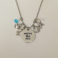 "Disney inspired Little Mermaid necklace ""under the sea"" Ariel Sebastian hand stamped Disney Jewelry charm necklace"