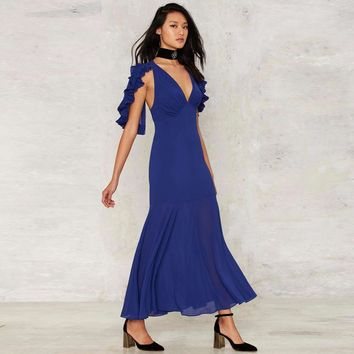 Chicloth Sexy Blue Plunging V-neck Maxi Dress