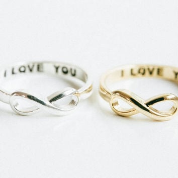 Infinity I LOVE YOU RING,I love you infinity rings,love rings,couple rings,i love you,wedding rings,engagement rings,SKD388