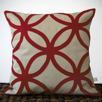 Oxblood DECORATIVE PILLOW COVER - Geometric Felt Design by JillianReneDecor Winter Home Decor Burgundy and Neutral