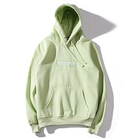 """""""Supreme"""" Couple Casual Letter Print Velvet Long Sleeve hooded Pullover Sweatshirt Top Sweater hoodie(9-Color) Green green logo"""