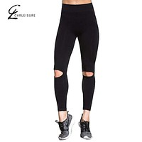CHRLEISURE S-XL Women Push Up Leggings Workout High Waist Ripped Leggins Activewear Breathable Slim Black Leggings Women