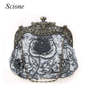 Retro 2017 Floral beaded Handbag Women Shoulder Bags Day Clutch bride Rhinestone Evening Bags for Wedding Party Clutches Purses