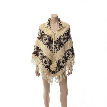 Vintage 80s Southwestern Tribal Wool Fringe Poncho 1980s Ethnic Chunky Knit Draped Boho Cloak Winter Jacket Gypsy Coat Cape