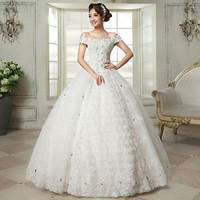 2014 New Vintage White/ivory Lace Wedding Dress Bridal Gown Custom Size S M L