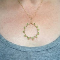 Large Green Peridot Crystal Pendant, Green Gold Filled Chain Pendant, Green Swarovski Wired Pendant Necklace, Wire Wrapped Jewelry Handmade