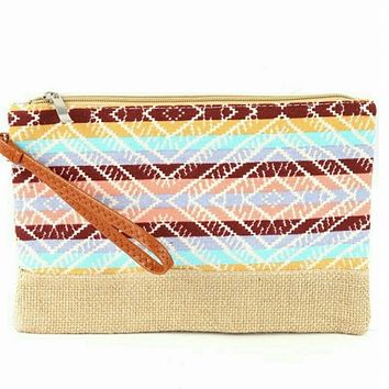 Aztec design wristlet clutch bag