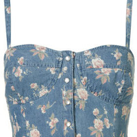 Ditsy Denim Bralet - Topshop USA