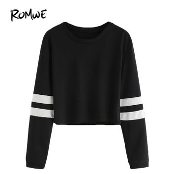 ROMWE T shirt Women  Clothing Casual Ladies Autumn Tees Round Neck Varsity Striped Long Sleeve Crop T-shirt