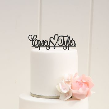 First Names + Heart Wedding Cake Topper