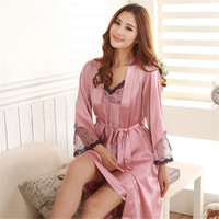 Womens Sleepwear Silk Pajamas Satin Pajamas Silk Sling Nightdress Nightgown Two-piece Pajamas Sexy Lace Tracksuit M-2XL 5 Colors