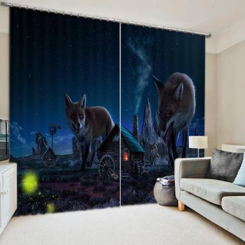 Here Comes The Wolf Bedroom Living Room Kitchen Home Textile Luxury 3D Window Curtains Gift For Family