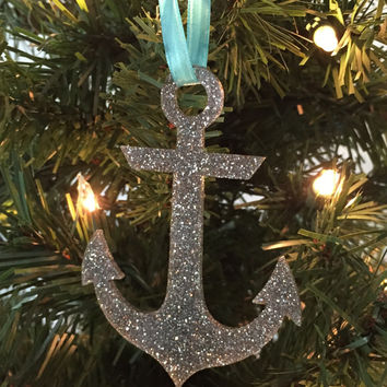 Anchor Christmas Ornament, Coastal Christmas Ornament, Christmas Ornament Gift, Glitter ornament, Coastal Christmas, Beach Christmas