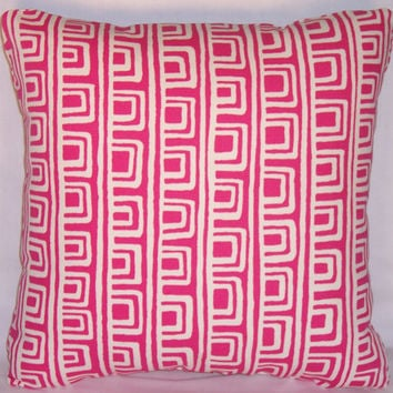 "Hot Pink Geometric Throw Pillow P. Kaufmann On The Square Papaya Fuchsia Magenta 17"" Square Cotton Ready to Ship Cover and Insert"