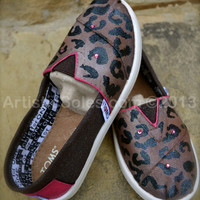 Hand Painted Custom TOMS - Leopard Print and Hot Pink -YOUTH