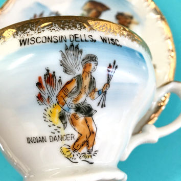 Indian Dancer Tea Cup and Saucer, Vintage Teacup, Porcelain Teacup, Wisconsin Souvenir, Native American