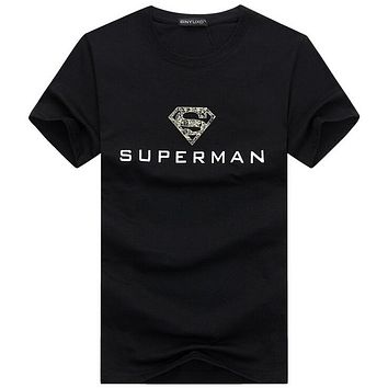 Summer Top Superman Printing T Shirts for Men Flash Male O Neck T Shirts Men's Clothing