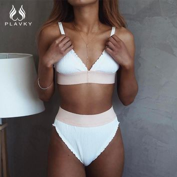 PLAVKY 2017 Sexy White Ruffled Biquini Swim Wear Bathing Suit Swimsuit Cut High Waisted Swimwear Women Brazilian Push Up Bikini