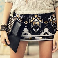 SEQUIN KNIT MINI SKIRT
