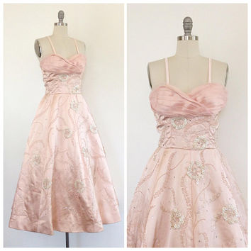 50s Beaded Pink Satin Party Dress / 1950s Vintage Prom Dress / Medium / Size 8