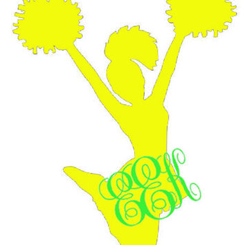 Cheerleader Decal with Monogram great for Cars by OwlOutfitters