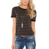 Caia Striped Top - Black