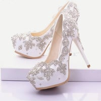 White Silver Rhinestone Wedding  Prom Shoes