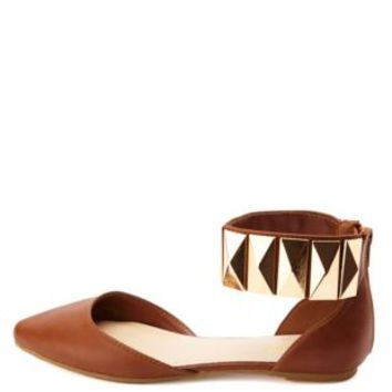 Bamboo Studded Ankle Cuff Pointed Toe Flats - Chestnut