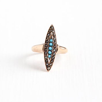 Antique Victorian 10k Rose Gold Seed Pearl & Simulated Turquoise Navette Ring - Vintage 1900 Size 2 3/4 Teal Blue Glass Stone Fine Jewelry