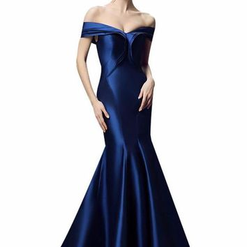 Luxury Royal Blue Satin Sexy Fishtail Evening Dress Bride Slim Banquet Off-the-shoulder Lace-up Long Prom Dress