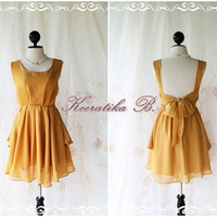 A Party - Cocktail Prom Party Dinner Wedding Night Dress Mustard Yellow Original Design Deep Back Bow Tie Sexy Simply Charming Dress
