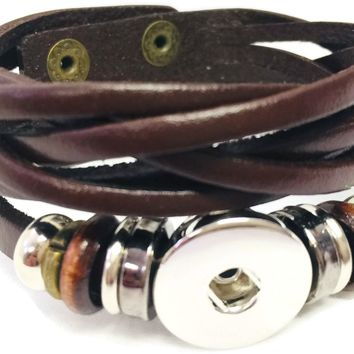 Brown Cuff DIY Leather Bracelet Multiple Colors Available for 18MM - 20MM Snap Jewelry Build Your Own Unique