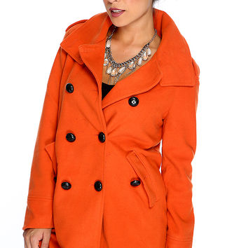 Burnt Orange Double Breasted Peacoat