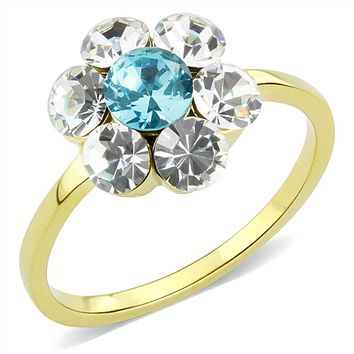 WildKlass Stainless Steel Ring IP Gold(Ion Plating) Women Synthetic Sea Blue