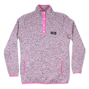 Knit Snap Pullover in Pink Heather by Simply Southern