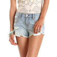 Refuge Destroyed Light Wash Short: Charlotte Russe