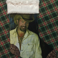 TOBY KEITH - Upcycled Rock Band T-shirt Christmas Stocking - OOAk