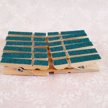 Mini Peacock Blue Glitter Clothespins Set of 12 for Photos, Weddings, with Twine and Screweyes, Photo, Art Display, Weddings