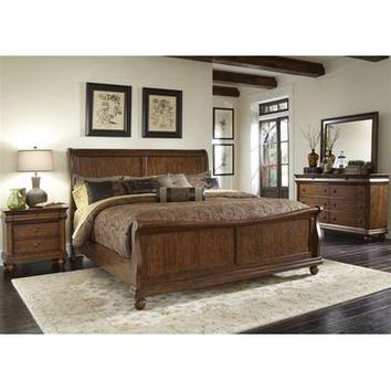 Liberty Furniture Rustic Traditions Sleigh Bed & Dresser & Mirror & Nightstand in Rustic Cherry Finish