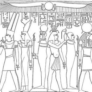 three ancient egyptian Egypt coloring pages for kids and adults Hieroglyphic people digi stamp digital stamp line art printables