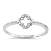 925 Sterling Silver CZ Clover Cross Ring 7MM