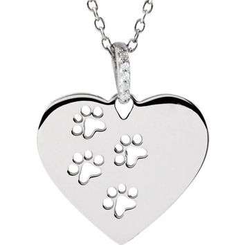 "ASPCA Tender Voices® Sterling Silver .02 CTW Diamond Heart Paw 18"" Necklace"
