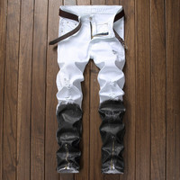 Ripped Holes Jeans Stretch Slim Zippers Brush [9892501187]