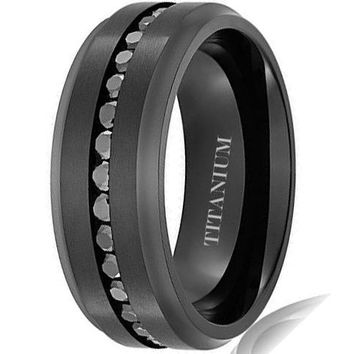 8MM Titanium Ring Wedding Band Black Plated Eternity Ring Channel Set Black Round CZ