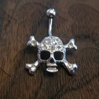 Skull with Crystal Rhinestones Belly Button Ring